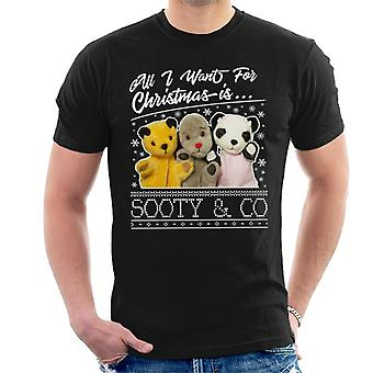 Sooty Christmas All I Want For Christmas Is Sooty And Co Men's T-Shirt