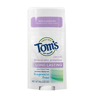 Tom's Of Maine Deodorant Stick, Long Lasting Unscented 2.25 oz