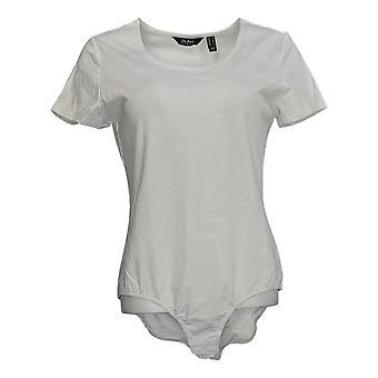 Du Jour Shaper Short Sleeve Scoop Neckline Collo Bodysuit Bianco A293725