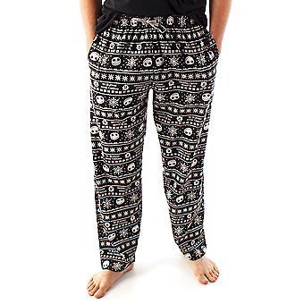 Disney Nightmare karácsony előtt Loungepants For Men | Felnőttek Jack Skellington Pizsama nadrág | Fekete zsinóros PJ alsó
