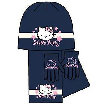Dzieci Dziewczyny Hello Kitty Dzianina Jersey Zestaw ciepłej maski, szalik i magiczne rękawiczki