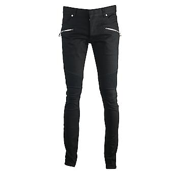 Balmain Skinny Biker Black Jeans