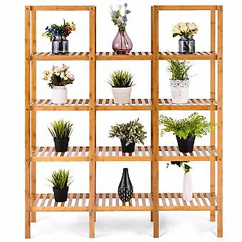Multifunctional Bamboo Bookshelf Bookcase Flower Plant Stand Display