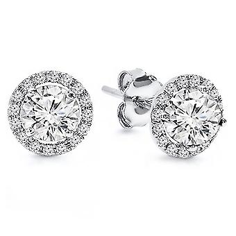 0.50 Carat Halo Diamond Earrings