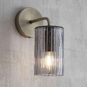 Lumière de mur de Clarendon de commerce de jardin avec le verre côtelé fumé