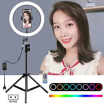 PULUZ 1.1m Tripod Mount + 12 inch RGB Dimmable LED Ring Vlogging Selfie Photography Video Lights Live Broadcast Kits with Cold Shoe Tripod Ball Head &