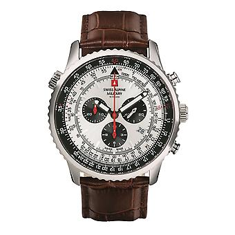 Zwitserse Alpine Military Men's Watch Chronograph Analoge Quartz 7078.9532SAM Leder