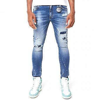 Amicci Barletta Skinny Fit Stretch Mid Blue Denim Rip & Repaired Jeans