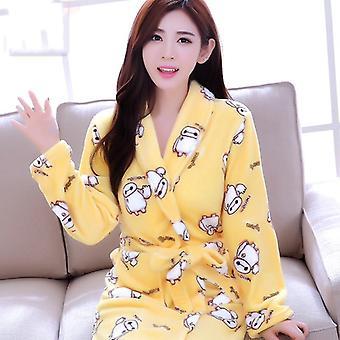 Femmes Long Bathrobe Flower Flannel Winter Warm Bathrobe Sleepwear Nightwear