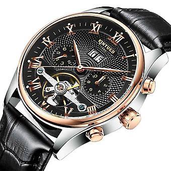 Menn automatisk klassisk skinn mekaniske armbåndsur