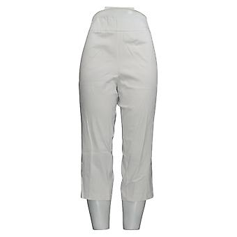 Joan Rivers Women's Petite Pants Pull-On Cropped Lace Up Detail White A301920