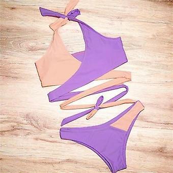 Patchwork Plavky Ženy Bandeau Bikini čipky až plavky