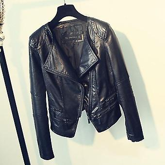 Ladies Motorcycle Leather, Turn-down Collar, Zipper Slim Jackets