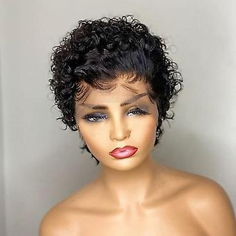 13x4 Pixie Cut Lace Frontal Human Hair Short Bob Curly Wig