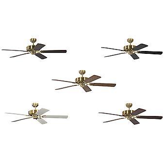Ceiling Fan Potkuri satin brass, selectable blade colour
