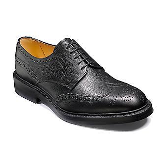 Barker Kelmarsh - Grano Negro | Hombres hechos a mano de cuero Derby Brogue | Zapatos Barker