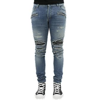 Balmain Costed Patches Slim Jeans-Dest Azul VH1MG010002DSDG Calças