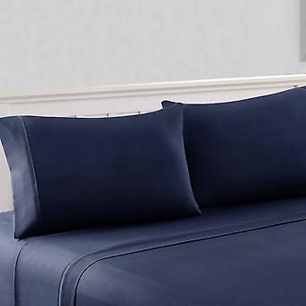 Bezons 4 Piece King Size Microfiber Sheet Set With 1800 Thread Count, Navy Blue