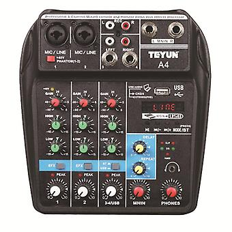 Teyun A4 4 Channel bluetooth 4.0 Audio Mixer Mixing Console Sound Card 48V Phantom Power