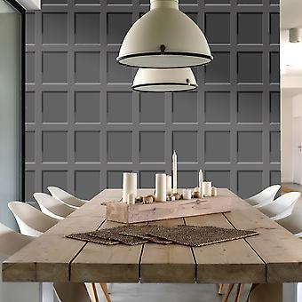 Heritage Wood Panel Wallpaper Charcoal Debona 6743