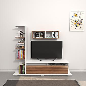 Mobile Argo TV Port Biały kolor, Melamina Chipboard Wood, L150xP28xA125 cm, L70XP20xA20 cm
