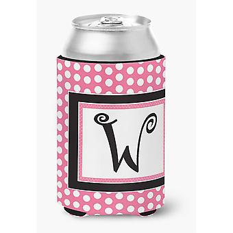 Ersten Buchstaben W Monogramm - rosa schwarz Polka Dots Dose oder Flasche Getränk Isolator Hugger