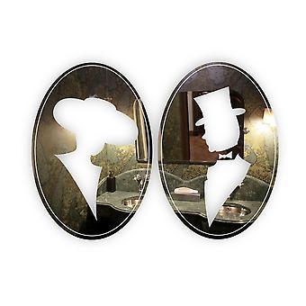 Vintage-Look Oval Damen und Herren WC Türschilder