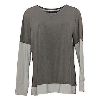 Isaac Mizrahi En direct! Women's Top Long Sleeve Layered Knit Gray A371877