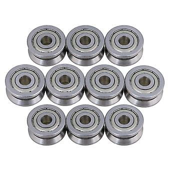Steel Roller Guide V Groove Ball Bearing Fits for Textile Winder 10 Pieces