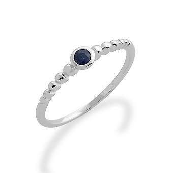 Gemondo 925 Sterling Silver Ring Saffier stapelbare Birthstone 0.13ct