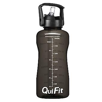 Motivational gallon water bottle with straw & time markings for daily log of water intake
