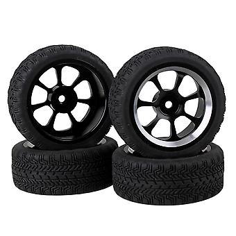 4pcs RC1: 10 On-Road bil svart høyt grep gummi dekk og legering 7-eiker hjulfelg