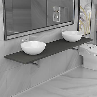 vidaXL 3-pcs. Bathroom furniture set ceramic grey