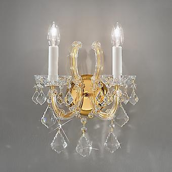 Classic Crystal Candle Wall Light Polished Gold, 2x E14
