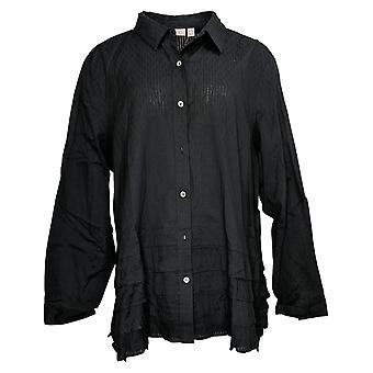 LOGO By Lori Goldstein Women's Top Button-Front Ruffle Black A351655