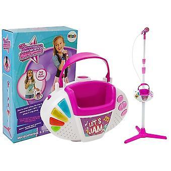 Conjunto de karaokê de brinquedo com conexão MP3 – Pink White