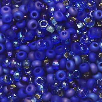 Tšekin lasiset siemenet, 8/0 Pyöreä, 1 unssi, Blue Moon Koboltti mix