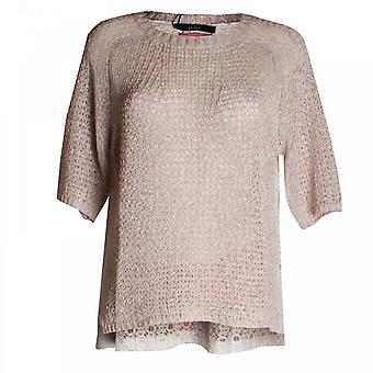 Oui Open Knit Jumper With Back Lace Panel