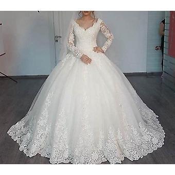 Nouvelle robe de mariée romantique en V-neck élégante princesse