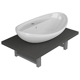 vidaXL 2 kpl. Kylpyhuoneen huonekalut asetettu keraaminen harmaa