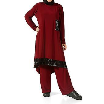 Pailletten Hijab Anzug mit Hose