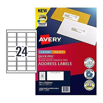 Avery Lip Label Qp L7159 24Up Box Of 10