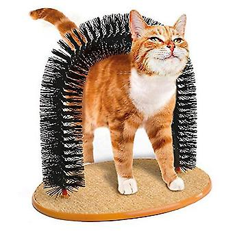Cat Grooming Arch Pet Self Brush Skrabe Legetøj Kitten Massage (Brown)