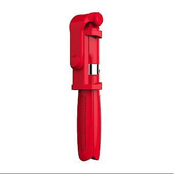Bluetooth selfie stick dálkové ovládání multifunkční stativ s LED (červená)