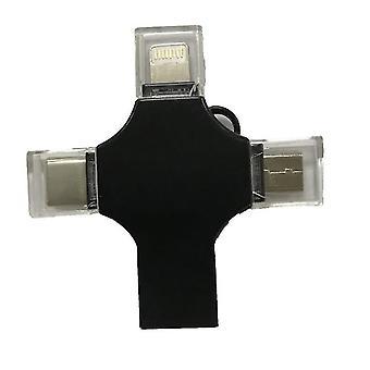 4 az 1-ben USB flash meghajtó kompatibilis iPhone, Micro USB és C típusú eszközök(fekete)