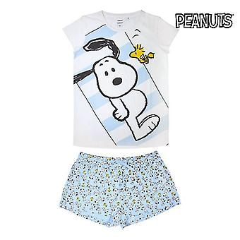 Summer Pyjama Snoopy Adult Sky blue White