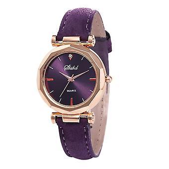 Women Rhinestone Fashion Exquisite Leather Bracelet Watch(Light Purple)