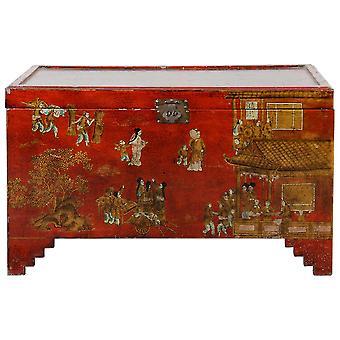 Feine asianliving Antike chinesische Brust Rotgold Handbemalt W102xT51xH61cm