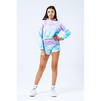 Hype Girls Pastel Clouds Cropped Pullover Hoodie