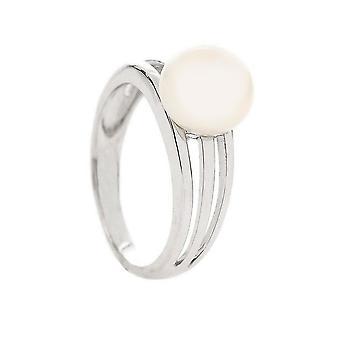 Anillo de plata, perla de la cultura blanca 'apos;Eds's;